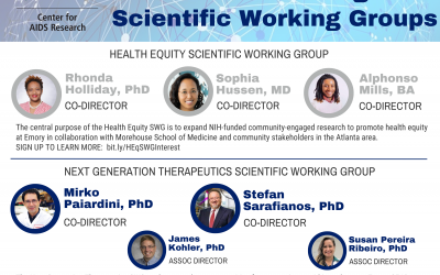 CFAR at Emory Newly Established Scientific Working Groups Leadership Announcement